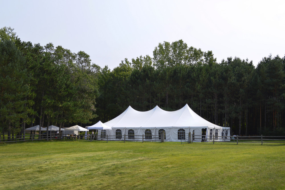 Tented events can feature a combination of hex, pole, rope, pop-up tent.